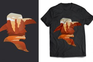 Cowboy and Desert T-Shirt Design Graphic Print Templates By naemislamcmt