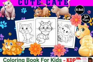 Print on Demand: Cute Cat Coloring Book for Kids Graphic Coloring Pages & Books Kids By Creative Designer