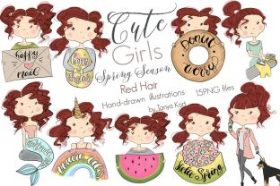 Cute Girls | Red Hair | Spring Season Graphic Icons By Tanya Kart