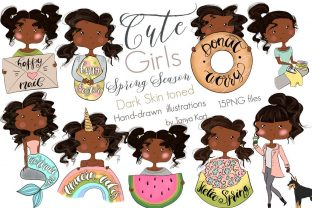 Dark Skin Toned Girls | Spring Season Graphic Icons By Tanya Kart