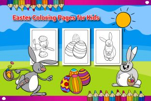 Easter Coloring Book Pages for Kids - 2 Graphic KDP Interiors By Sharif54