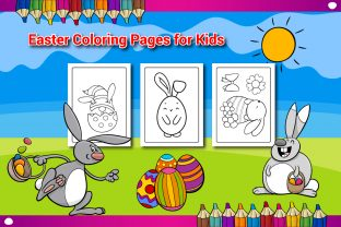 Easter Coloring Book Pages for Kids - 3 Graphic KDP Interiors By Sharif54