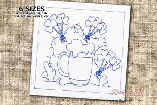 Enjoying St Patrick's Day with Beer St Patrick's Day Embroidery Design By Redwork101