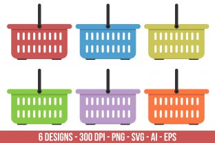 Flat Colored Grocery Basket Graphic Illustrations By Creativeclipcloud