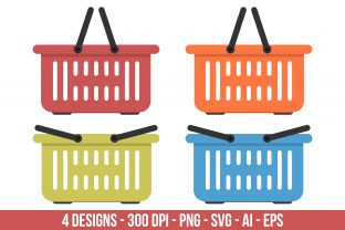 Flat Colored Grocery Basket Clipart Set. Graphic Illustrations By Creativeclipcloud