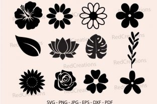 Flowers Svg Bundle, Leaves, Rose, Lotus Graphic Crafts By RedCreations