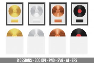 Gold, Silver and Bronze Vinyl Record Graphic Illustrations By Creativeclipcloud