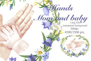 Hands of Mom and Baby in a Floral Frame Graphic Illustrations By Marine Universe