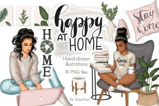 Happy at Home Clipart Graphic Illustrations By Tanya Kart