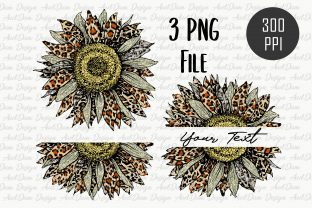 Leopard Sunflower Clipart Sublimation Graphic Crafts By AudDum Design