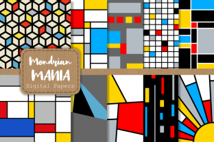 Print on Demand: Mondrian Mania Retro Geometric Papers Graphic Patterns By Prawny