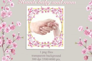 Print on Demand: Mother's Day.Hands Baby and Mom in Flowe Graphic Illustrations By Marine Universe