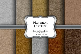 Print on Demand: Natural Leather Textures Digital Papers Graphic Backgrounds By Party Pixelz