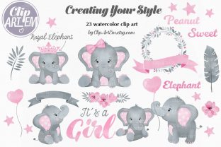 Print on Demand: Pink Elephant 23 PNG Watercolor Set Grafik Illustrationen von clipArtem
