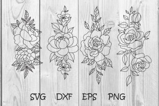 Print on Demand: Rose Flowers Hand Drawn Svg, Floral Svg Graphic Print Templates By dadan_pm