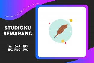 School Icon Quill Pen Circle Blue Graphic Icons By studiokusemarang