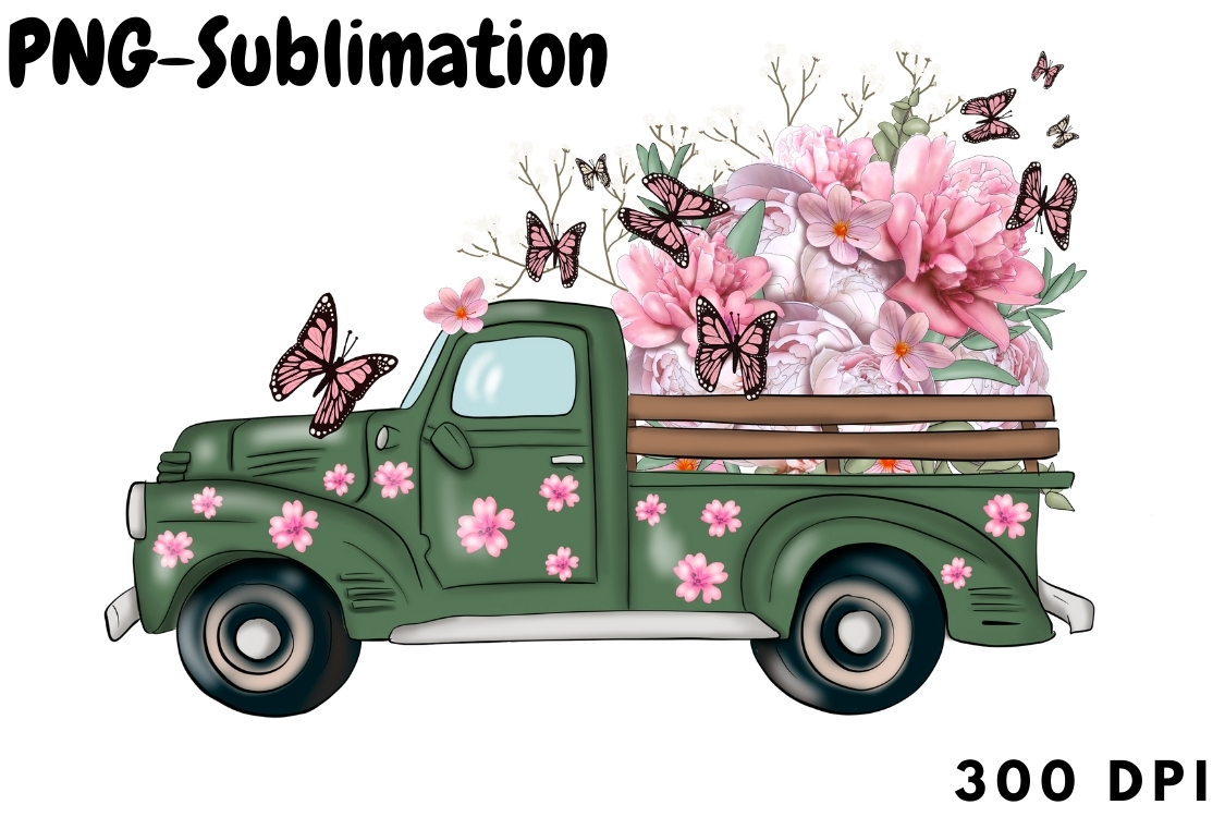 Spring Truck with Flowers Sublimation SVG File