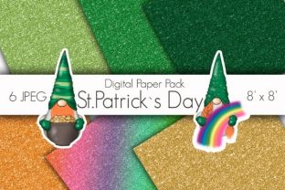 St Patricks Day Glitter Gold Papers Graphic Patterns By Tanya Kart