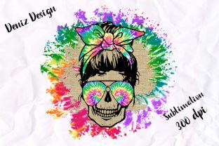 Print on Demand: Sublimation Tie Dye Skull Circle Graphic Print Templates By DenizDesign