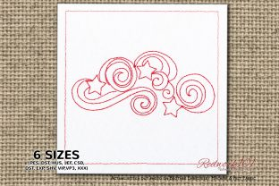 Swirls Stars Redwork Intricate Cuts Embroidery Design By Redwork101