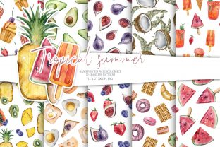 Print on Demand: Tropical Fruits Seamless Digital Paper Graphic Patterns By Tiana Geo