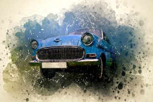 Print on Demand: Vintage Car Printables Pack 16 Graphic Illustrations By The leaves river