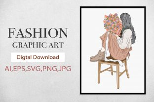 Print on Demand: WallArt,Girl Holding Flowers on a Chair Graphic Illustrations By Saydung89