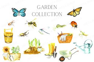 Watercolor Gardening Set, Spring Insects Graphic Illustrations By Aneta Design