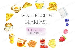 Watercolor Breakfast Clipart, Pancake Graphic Illustrations By Aneta Design