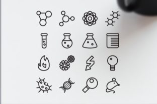 Print on Demand: 16 Science Icons Graphic Illustrations By barsrsind