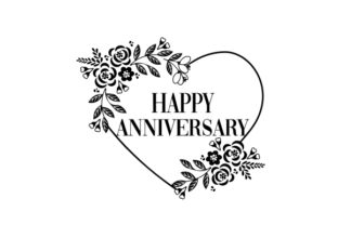 Happy Anniversary in Heart Border Designs & Drawings Craft Cut File By Creative Fabrica Crafts