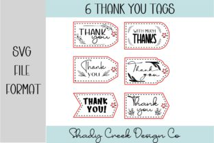 6 Faux Stitched Thank You Tags Graphic 3D SVG By Shady Creek Design Company