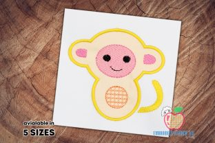 Baby Monkey Applique Wild Animals Embroidery Design By embroiderydesigns101