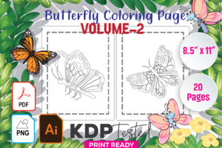 Butterfly Coloring Page Volume-2 Gráfico Páginas KDP Por GraphicTech360