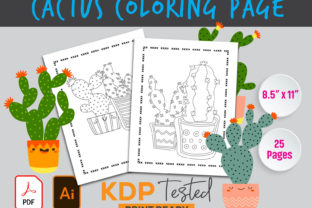 Cactus Coloring Page KDP Interior Graphic KDP Interiors By GraphicTech360