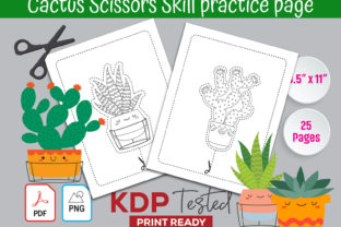 Cactus Scissors Skill Practice Page Graphic KDP Interiors By GraphicTech360