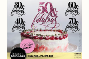 Cake Topper Bundle, Happy Birthday Cake Graphic Crafts By March Design Studio