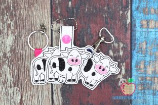 Cow Cartoon ITH Keyfob Farm Animals Embroidery Design By embroiderydesigns101