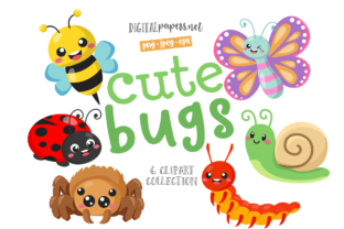 Print on Demand: Cute Bugs Clipart Set Graphic Illustrations By DigitalPapers