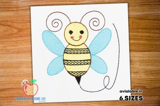 Cute Cartoon Bee Sketch Bugs & Insects Embroidery Design By embroiderydesigns101