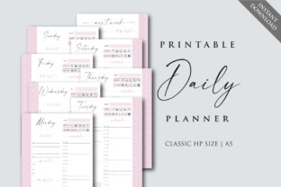Daily Planner Inserts Graphic Print Templates By PlannerArtInserts