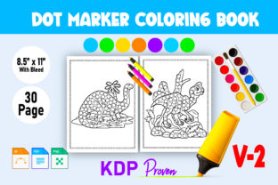 Dinosaur Dot Markers Coloring Pages V- 2 Graphic KDP Interiors By Toster
