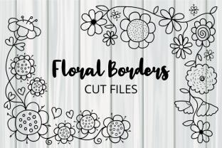 Print on Demand: Dodle Floral Corner Border Cut Files Graphic Crafts By Prawny