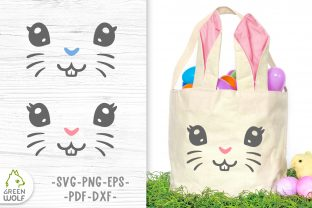 Easter Basket with Bunny Face Svg Graphic Crafts By GreenWolf Art