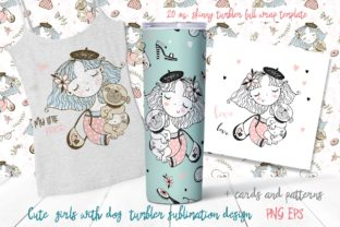 Girl with Dog Sublimation Design Tumbler Graphic Print Templates By grigaola
