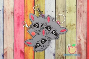 Image of Raccoon Face in the Hoop Keyfob Wild Animals Embroidery Design By embroiderydesigns101