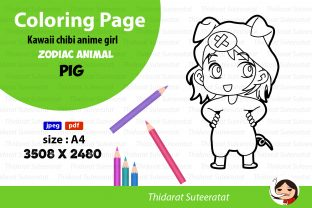 Kawaii Anime Girl - Coloring Page -No.12 Graphic Coloring Pages & Books Kids By thidarat.suteeratat