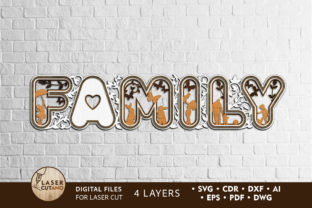 Print on Demand: Laser Cut Words - FAMILY Graphic Crafts By LaserCutano 1