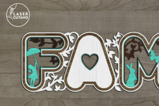 Print on Demand: Laser Cut Words - FAMILY Graphic Crafts By LaserCutano 4