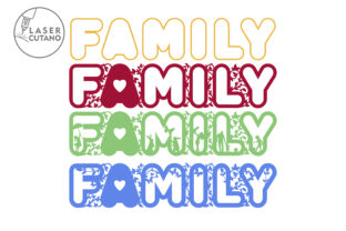 Print on Demand: Laser Cut Words - FAMILY Graphic Crafts By LaserCutano 5